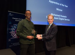 Apprentice of the Year winner Mohamed Hussain with Dominic Foretescue